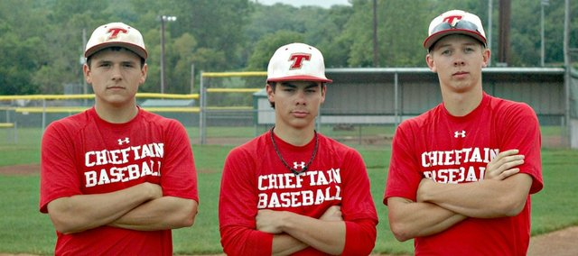 THS baseball seniors Tyler Freeman, left, Austin Harkrader, center, and Ben Williams know a run at regionals could prolong their Chieftain careers.