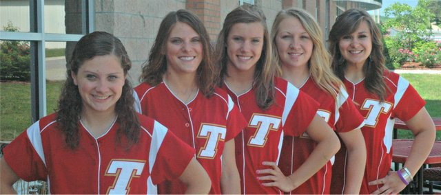 The Chieftain softball seniors hoep to reach this year's state tournament. Pictured, from left, are Maggie Gripka, Haley Smith, Kailan Kuzmic, Amanda Holroyd and Makayla Leslie.