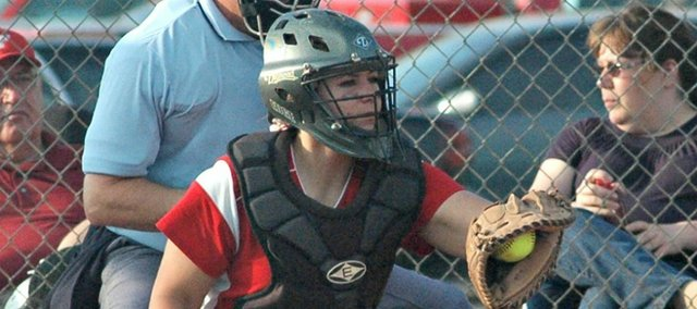 Makayla Leslie was one of five THS seniors to play her final home softball games on Thursday.