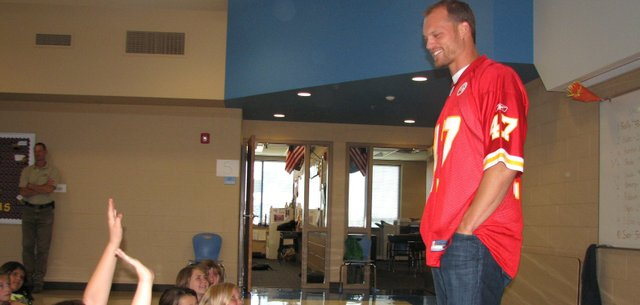 Kansas City Chiefs safety Jon McGraw smiles as he takes questions from fifth-graders during a visit to Basehor Intermediate School on Monday.