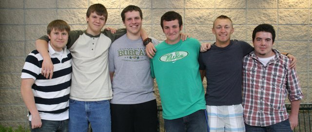 A record number of six Eagle Scouts — from left, Levi Draper, Sam Fahrenkrug, Ben Kamm, Colin Riley, Skylar Ross and Alec Smith — will graduate from Basehor-Linwood High School today, defying national statistics that say only about four of every 100 Boy Scouts reach the rank of Eagle.