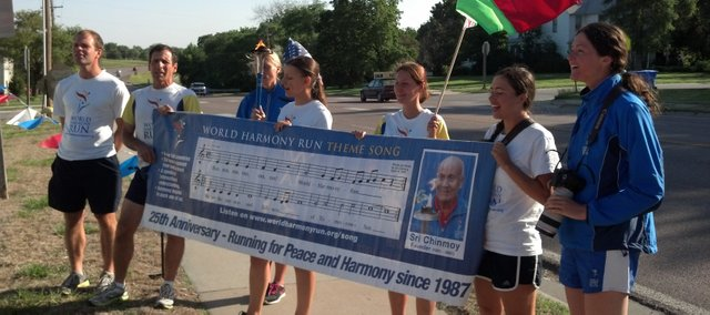 World Harmony runners stopped Wednesday, May 16, 2012, in Tonganoxie