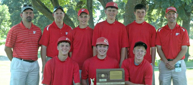 The Tonganoxie High golf team took second at the state meet Monday at Dub&#39;s Dread Golf Club.