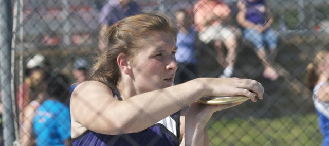 Baldwin junior Katie Kehl finished first in the discus and second in the shot put Friday in the 4A State Track and Field Meet in Wichita. Also winning gold in the first day to the two-day event for Baldwin was fellow junior Dayton Valentine in the shot put.