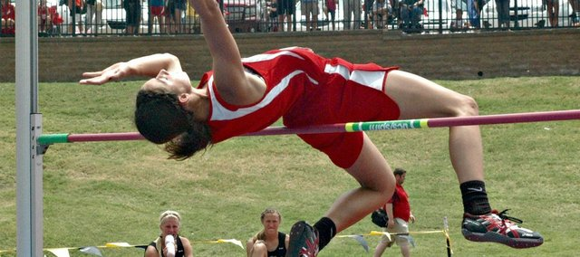 Jenny Whitledge won her second straight state high jump title Friday in Wichita.