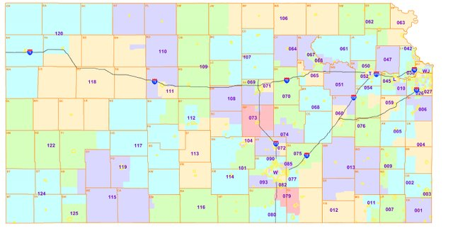 The new Kansas state House district boundaries created by federal judges for 2012.