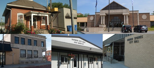 Clockwise from upper left, the city halls in Tonganoxie, Shawnee, Bonner Springs, Basehor and Baldwin City.