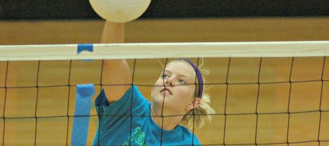 Senior Madee Walker was one of several volleyball players on hand this week at Tonganoxie's four-day summer camp.