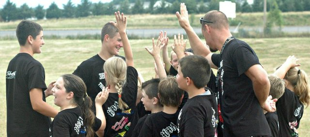 The second annual youth Sokker Kamp drew 20 kids to the Tonganoxie High practice field this week.