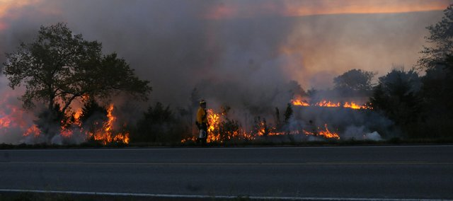 A fireman walks along U.S. Highway 56 past flaming trees set ablaze as part of a backfire as firefighters from departments throughout Douglas County and those from Franklin and Johnson counties fought a series of fires Sunday afternoon along the highway.