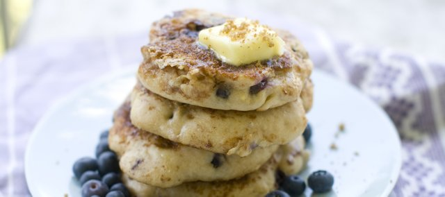 Skillet blueberry muffin pancakes are perfect if you're craving blueberry muffins but don't have a muffin tin handy, or if you just don't feel like flipping on the oven on a hot summer day.