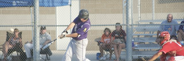 Tyler Cawley connects for a home run in Baldwin's first-round victory against Hiawatha in the Zone 1 American Legion Tournament. Baldwin won its second game of the day against Wellsville and out slugged the K.C. Cyclones, 18-12, on Wednesday to advance to the championship round.