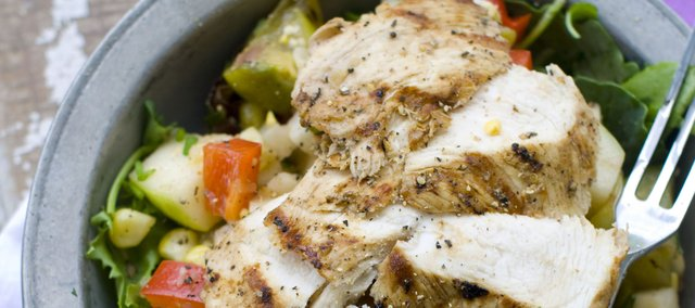 Chopped Summer Salad With Grilled Chicken And Herbs makes for a low-fat yet satisfying meal. Shrimp or grilled tofu would be good substitutes for the chicken.