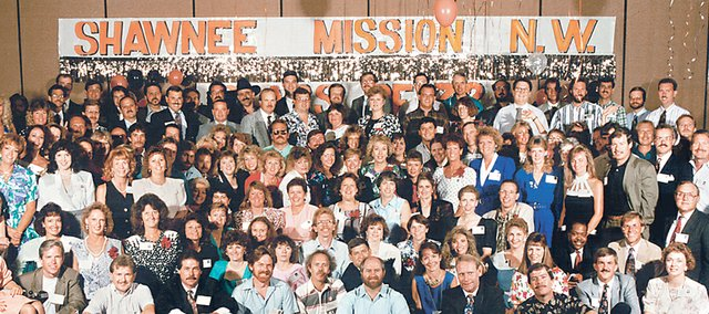 The Shawnee Mission Northwest Class of 1972 at its 20th reunion. Organizers of the 40th reunion, set for this weekend, hope this year's reunion will draw an equally large group of former classmates.