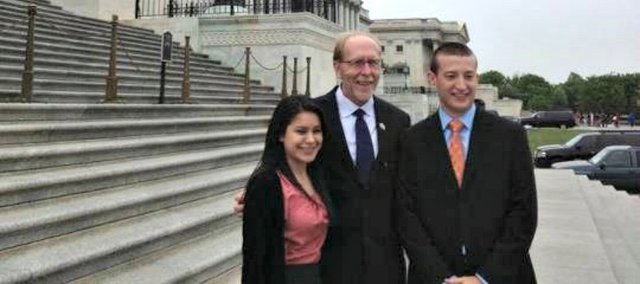 Mike Fonkert, right, stands with U.S. Rep. Dave Loebsack, D-Iowa, middle, and Victoria Morales, left, outside the U.S. Capitol. Fonkert, a 2007 Tonganoxie High School and 2011 Kansas University graduate, and Morales served as interns for Loebsack from January through May.