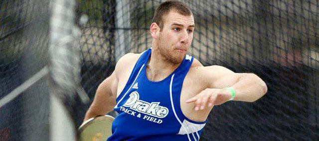 Isaac Twombly lets fly the discus for Drake University. The BHS graduate will be senior this year at Drake and already holds the school's records for hammer and weight, the indoor hammer throw.