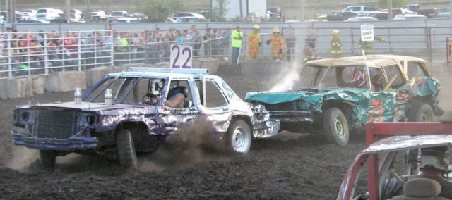 Friday night&#39;s demolition derby drew hundreds of spectators to the grandstands at the Leavenworth County Fairgrounds.