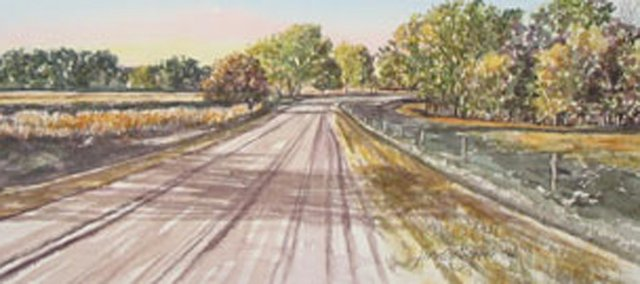 This work depicting rural Gove County and other watercolors by Linda Everett will be on display at the Lumberyard Arts Center starting Friday.