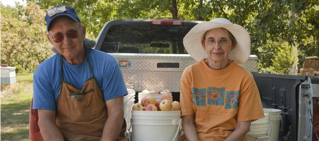 Ernie and Clara Richardson, Lawrence, started an apple orchard in the early '90s and it's grown into a busy hobby, as they're harvesting a bumper crop. While not all growers have had the same luck, everyone's apples are arriving early this year.