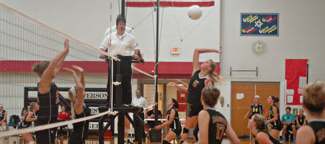 Sophomore Summer Cerny goes up for a kill Saturday at the Jeff West Invitational. McLouth struggled at the season-opening tournament, going a combined 0-5.