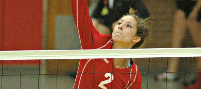 Senior Jenny Whitledge had a team-high 23 kills in Tonganoxie's four-set win Monday against Atchison.