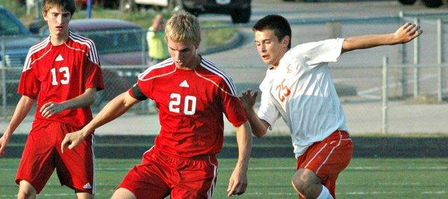 Senior Matt Saathoff scored the winning goal in overtime Tuesday at Bonner Springs. Tonganoxie High improved to 1-1 with the 2-1 victory.
