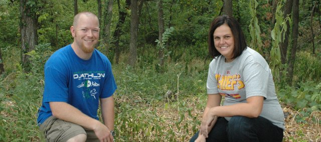 Beau Bragg, physical education teacher, and Mendy Brents, school counselor, helped Bonner Springs Elementary School earn a $15,000 grant from Lowe's to turn a wooded area on school property into an outdoor learning area.