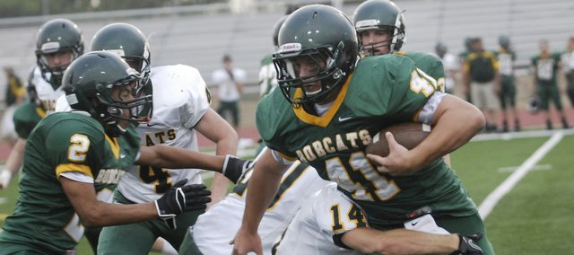Basehor-Linwood running back/linebacker Drew Potter scored four times on offense during the Bobcats' Aug. 23 scrimmage.