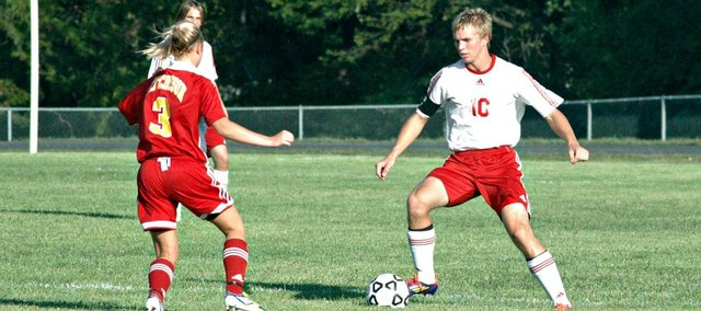 Senior Matt Saathoff recorded a hat trick Tuesday in Tonganoxie's 9-1 win over Atchison.