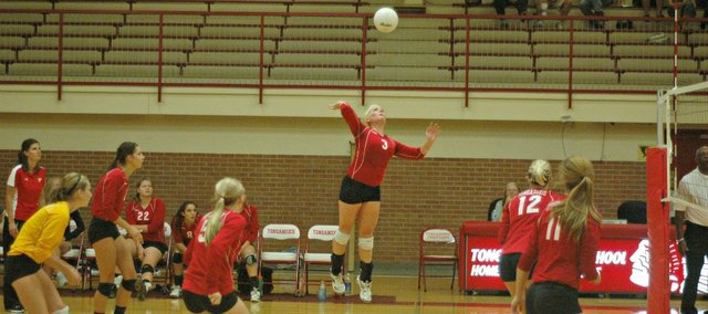 Olivia Hollingsworth had nine kills in Tonganoxie's five-set win Thursday against Baldwin.