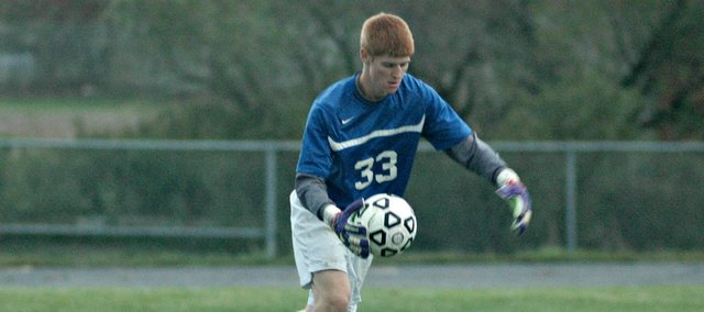 Senior goalkeeper Keaton Truesdell came up with several key saves in Tonganoxie's 2-1 win Monday against Mill Valley.