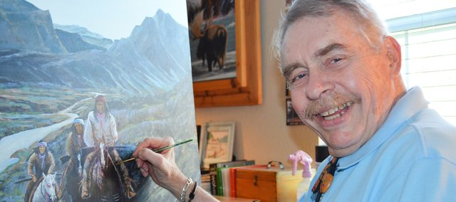 Dick Berry, a self-taught artist who lives in Shawnee, has landed the first showing of his work at age 76.