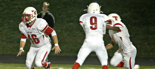 Cody Saladin, left, and the Tonganoxie High football team will square off against Mill Valley on Friday at Beatty Field.