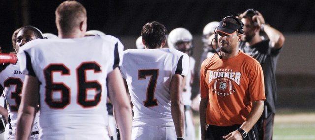 Bonner Springs coach Lucas Aslin on the sideline during Friday's Black and Orange Jamboree.