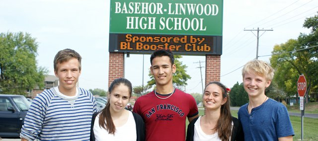 Exchange students Juho Luomajoki,Vicky Borgnino, Mergen Meredov, Yasmine Bale and Jannik Straube will attend Basehor-Linwood High School while living with host families in the community.