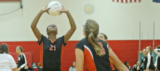 BSHS freshman Alazia Stanley (21) was named to the All-Tournament Team at the Tonganoxie Invitational on Saturday. The Braves finished eighth in the tournament.