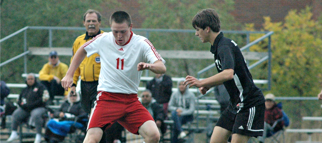Jared Colgrove helped the Tonganoxie High soccer team to a 2-0 win on Thursday against Bishop Ward.