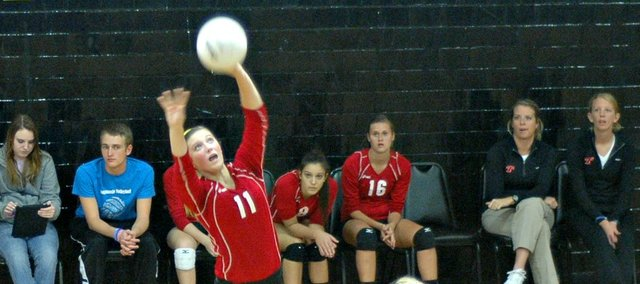 Lauren Jackson's strong setting performance helped Tonganoxie to a win Tuesday at Bishop Ward.