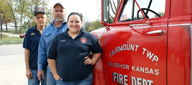 Three generations of the Brandt family have served in the Fairmount Township Fire Department. They are Roger Brandt, Lee Brandt and Mallorie Belk (from left).