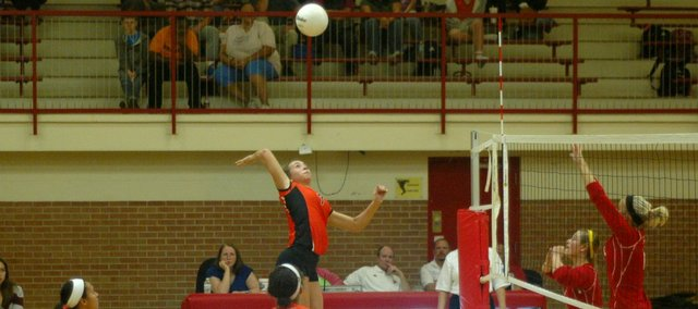 Haley Hoffine goes up for a kill on Tuesday at Tonganoxie. Bonner Springs defeated the Chieftains in five sets.