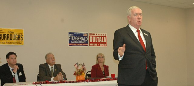 Republican Steve Fitzgerald addresses the audience earlier this month at the Bonner Springs-Edwardsville Chamber of Commerce&#39;s candidate forum, as other candidates look on, including his opponent, incumbent Democrat Kelly Kultala (seated, far right). Comments Fitzgerald made at another candidate event, just four days after the chamber forum, caught the attention of national media outlet The Huffington Post earlier this week.