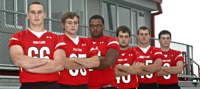 Six Tonganoxie High seniors will play their final home game tonight at Beatty Field. Pictured, from left, are Thomas Miller, Gus Dent, Ty Barton, Cody Saladin, Tyler Zinser and Brett Shelton.