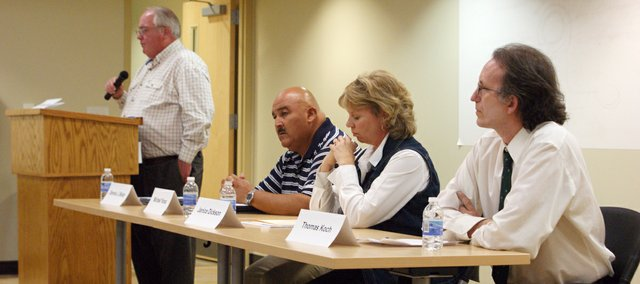 County candidates answered questions from the audience during the Basehor Community Library forum Tuesday night. Issues ranged from animal control to taxation.