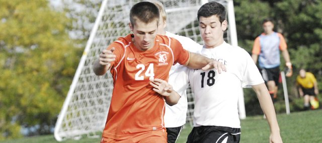 BSHS senior Spencer Frank scored the game-winner in overtime Monday to open regional play. However, the Braves were eliminated on Tuesday, 3-0, in Olathe against Heritage Christian Academy.