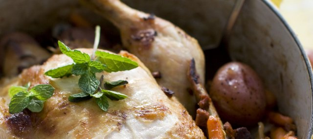 Chorizo sausage lends bold flavor to roasted chicken and root vegetables.