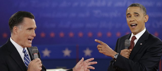 President Barack Obama and Republican presidential nominee Mitt Romney exchange views during the second presidential debate on Oct. 16 at Hofstra University in Hempstead, N.Y. The Electoral College will play a significant role in determining the next U.S. president.