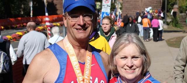 Rick and Charlene Mankameyer celebrate Rick's completion of the ING Hartford Marathon in Connecticut. The Oct. 12 feat fulfilled his goal of running marathons in all 50 states and the District of Columbia.