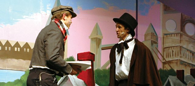 "Mill Valley High School senior Alec Santaularia, right, portrays Ebenezer Scrooge in the school's production of ""A Christmas Carol."" The show will run through Nov. 10."