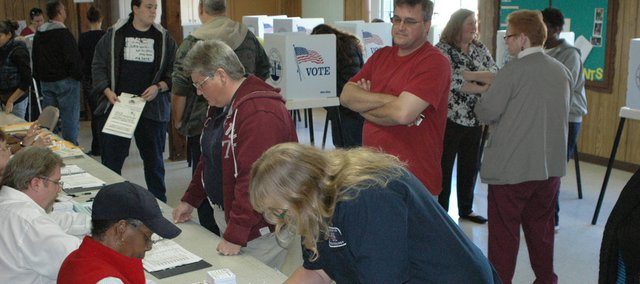 Voters fill the basement of the Calvary Baptist Church in Bonner Springs Tuesday. Voter turnout in Wyandotte County was 59.11 percent.
