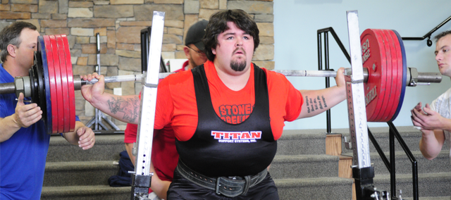 Tonganoxie High grad Jeff Frank II set a personal record by squatting 700 pounds in Blue Springs, Mo.